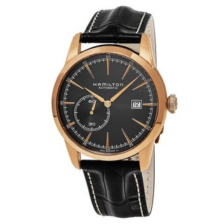 Hamilton Men's H40545731 'American Classic' Black Dial Black Leather Strap Railroad Swiss Automatic Watch