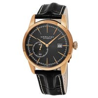 Hamilton Men's  'American Classic' Black Dial Black Leather Strap Railroad Swiss Automatic Watch