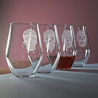 Dia De Los Muertos Stemless Wine Glass (Set of 4)