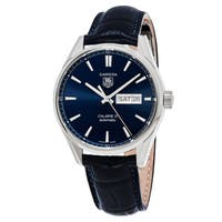 Tag Heuer Men's  'Carrera' Blue Dial Blue Leather Strap Day Date Swiss Automatic Watch