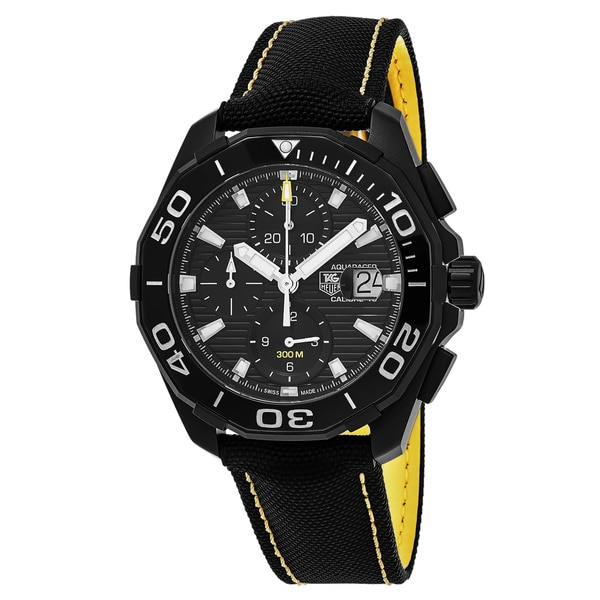 34782dbc9d626 Shop Tag Heuer Men s  300 Aquaracer  Black Dial Black Fabric Strap ...