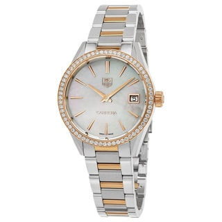Tag Heuer Women's WAR1353.BD0779 'Carrera' Mother of Pearl Dial Two Tone Stainless Steel Diamond Swiss Quartz Watch
