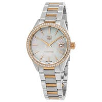 Tag Heuer Women's  'Carrera' Mother of Pearl Dial Two Tone Stainless Steel Diamond Swiss Quartz Watch