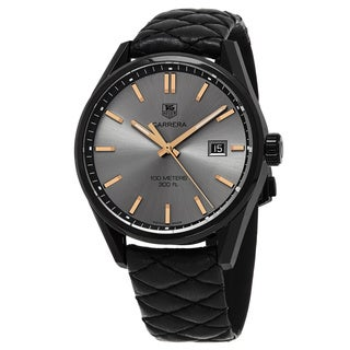 Tag Heuer Women's WAR101A.FC6367 'Carrera' Anthracite Dial Black Leather Strap Cara Delevingne Edition Swiss Quartz Watch