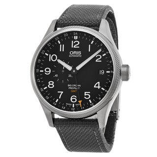 Oris Men's 748 7710 4164 LS 17 'Big Crown' Black Dial Grey Fabric Strap Pro Pilot GMT Swiss Automatic Watch