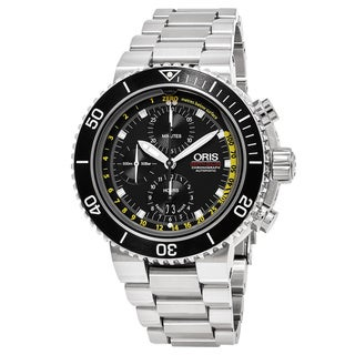 Oris Men's 774 7708 4154 MB 'Aquis' Black Dial Stainless Steel Depth Gauge Chronograph Swiss Automatic Watch