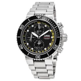 Oris Men's 774 7708 4154 MB 'Aquis' Black Dial Stainless Steel Depth Gauge Chronograph Swiss Automatic Watch