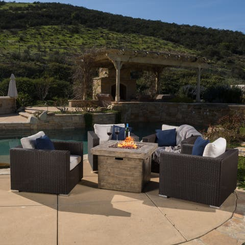 Santa Rosa Outdoor 4-piece Wicker Club Chair Set with 32-inch Square Fire Pit by Christopher Knight Home