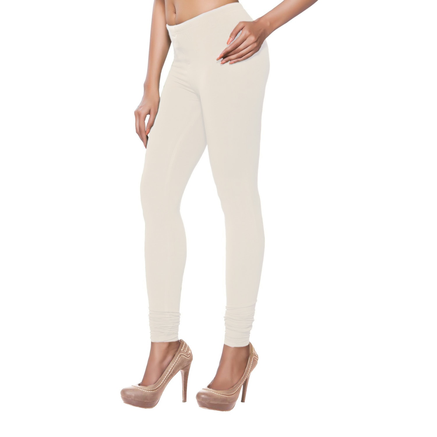 In-Sattva Women's Off-white (Beige) Solid Color Leggings ...