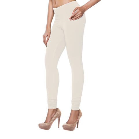 e80fa76accbc3 Handmade In-Sattva Women's Off-white Solid Color Leggings (India)