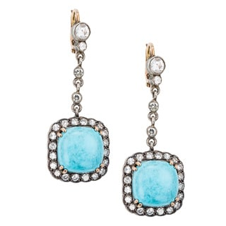 Gold and Silver 2 1/2ct TDW Diamond and Turquoise Antique Dangling Earrings (G-H, SI1-SI2)