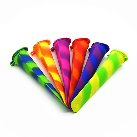 BORN BAKER Multicolored Silicone Ice Pop Molds With Attached Lids (Set of 6)