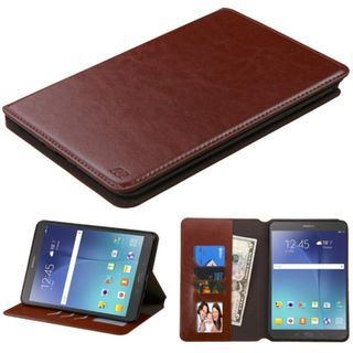 Insten Brown Leather Case Cover with Stand/ Wallet Flap Pouch/ Photo Display For Samsung Galaxy Tab A 8