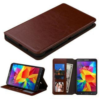 Insten Brown Leather Case Cover with Stand/ Wallet Flap Pouch/ Photo Display For Samsung Galaxy Tab 4 7-inch (LTE version)