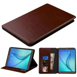 Insten Brown Leather Case Cover with Stand/ Wallet Flap Pouch/ Photo Display For Samsung Galaxy Tab A 9.7
