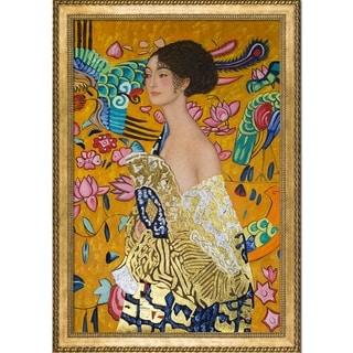 Gustav Klimt 'Signora con Ventaglio' Luxury Line Hand Painted Framed Canvas Art