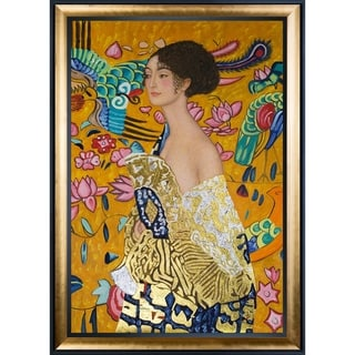 Gustav Klimt 'Signora con Ventaglio' Luxury Line Hand Painted Framed Canvas Art