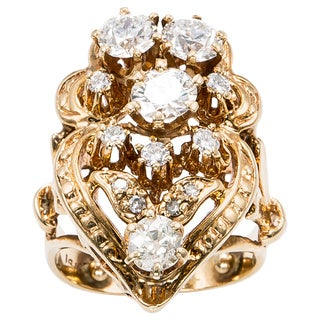 14K Yellow Gold 2 1/2ct TDW Antique Victorian Diamond Ring (H-I, VS1-VS2)