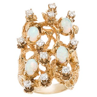 14K Yellow Gold 3/4ct TDW Diamonds and Opal Nugget Estate Ring (H-I, SI1-SI2)