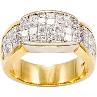 18K Yellow Gold 2 3/5ct TDW Invisible Set Top Diamonds Band Estate Ring (G-H, VS1-VS2)