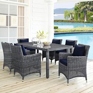 Invite Grey Glass, Plastic, Rattan 7-piece Outdoor Patio Sunbrella Dining Set