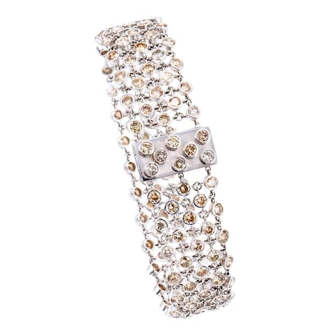 14k White Gold 18 1/2ct TDW Bezel-set Cognac Diamond Mesh Estate Bracelet (Cognac, SI1-SI2)