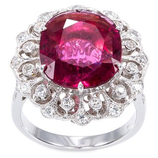 18K White Gold 3/5ct TDW Rubellite Estate Cocktail Ring (H-I, SI1-SI2)