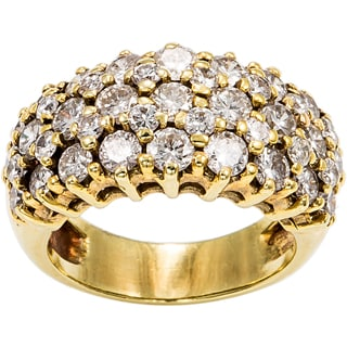 14K Yellow Gold 3ct TDW 3-Row Pave Top Diamond Estate Ring (H-I, SI1-SI2)