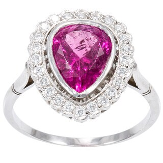 Platinum 1/4ct TDW Pear-shaped Pink Sapphire Halo Ring (H-I, SI1-SI2)