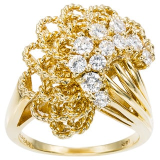 18K Yellow Gold 1ct TDW Diamonds Cluster Estate Ring (G-H, VS1-VS2)