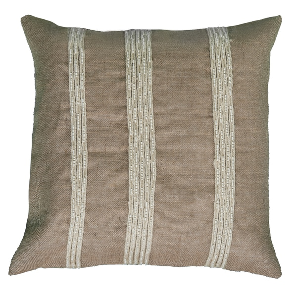 Rizzy Home Natural Cotton/Jute 20-inch Hand-appliquee Decorative Throw Pillow With Embroidery Detailing