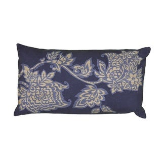 Rizzy Home Blue/Green/Pink/Orange Polyester/Cotton/Jute 11-inch x 21-inch Embroidered Floral Decorative Throw Pillow