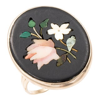 14K Yellow Gold Micro Mosaic Floral Oval Top Estate Ring