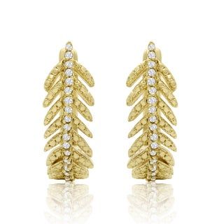Gold Overlay 1/4ct TDW Diamond Feather Earrings with Latch backs (I-J, I1-I2)