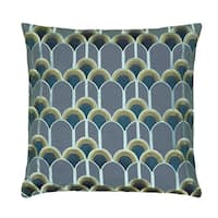 Rizzy Home Multi-color Cotton, Polyester 18-inch x 18-inch Embroidered Art Deco Decorative Throw Pillow