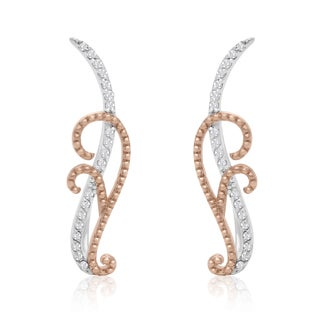 Rose Gold and Sterling Silver 1/5ct TDW Diamond Filigree Ear Climbers (I-J, I1-I2)