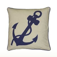 Rizzy Home Embroidered Applique Anchor Pattern 18-inch Decorative Throw Pillow