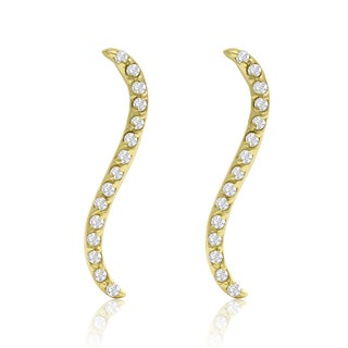 14k Yellow Gold 1/3ct TDW Diamond Swirl Ear Climbers (I-J, I1-I2)