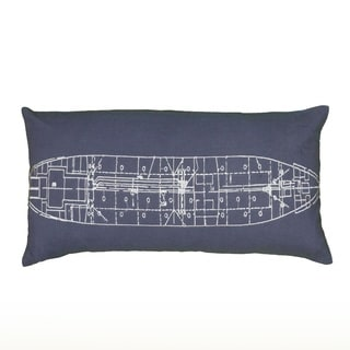 Rizzy Home Embroidered Boat Plan 11-inch x 21-inch Decorative Throw Pillow