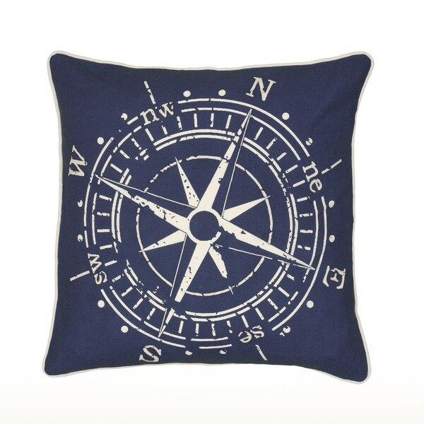 Rizzy Home Compass Print Pattern 18-inch Decorative Throw Pillow
