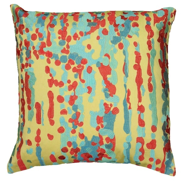 Rizzy Home Embroidery Abstract Patterned 20-inch Decorative Throw Pillow