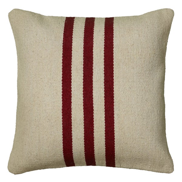 Rizzy Home Red Polyester/Wool/Cotton 18-inch x 18-inch Woven Southwest Patterned Decorative ...