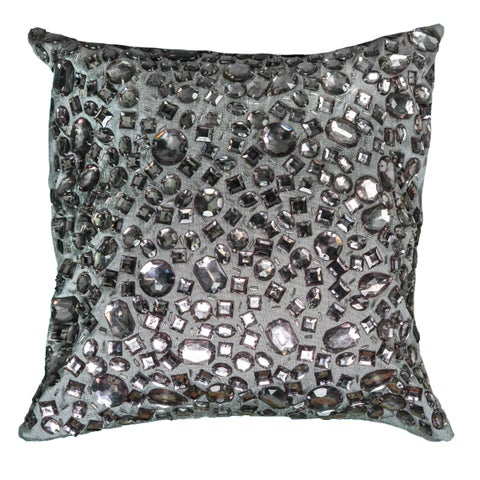Rizzy Home Grey Polyester 12-inch Square Jeweled Decorative Throw Pillow