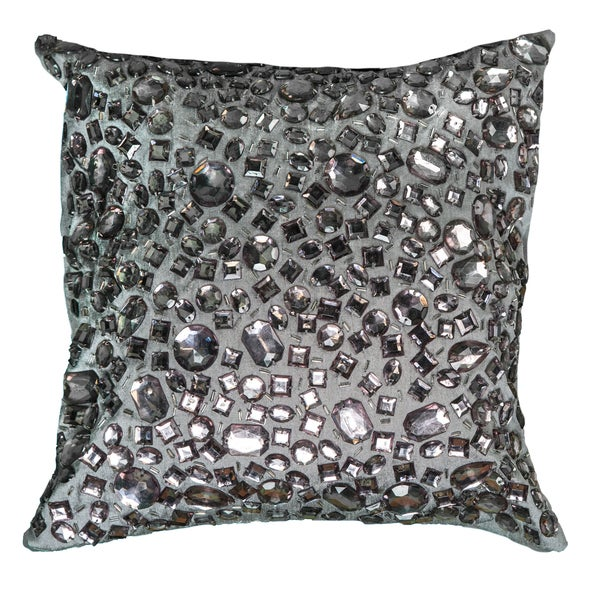 Decorative Jeweled Pillows : Rizzy Home Grey Polyester 12-inch Square Jeweled Decorative Throw Pillow - Free Shipping Today ...
