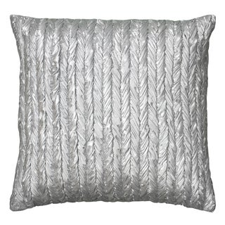 Rizzy Home Silver Polyester 18-inch x 18-inch Metallic Gathered Braided Pattern Decorative Throw Pillow
