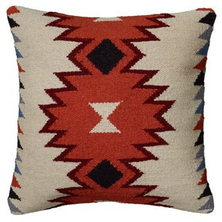 Rizzy Home Multicolor Wool/Cotton/Polyester 18-inch x 18-inch Woven Southwest Patterned Decorative Throw Pillow