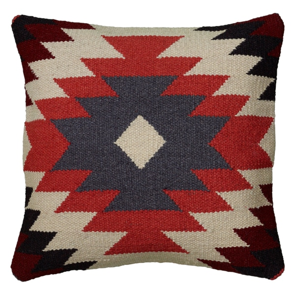 Rizzy Home Multicolor Wool Cotton Polyester 18 Inch X 18
