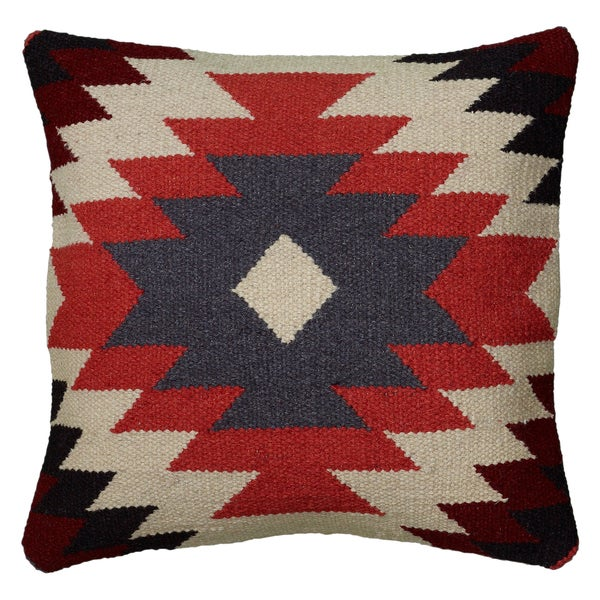 Rizzy Home Multicolor Wool/Cotton/Polyester 18-inch x 18-inch Woven Southwest Patterned ...