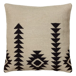 Rizzy Home Southwest Patterned White/Black Wool-blend 18-inch Woven Throw Pillow