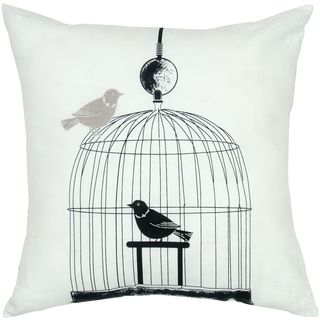 Rizzy Home Bird Cage Print 18-inch Decorative Throw Pillow
